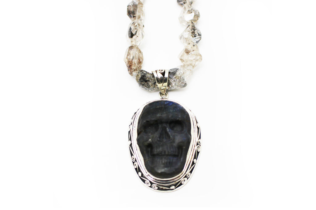 Labradorite Skull Necklace with Natural Topaz and Sterling Silver