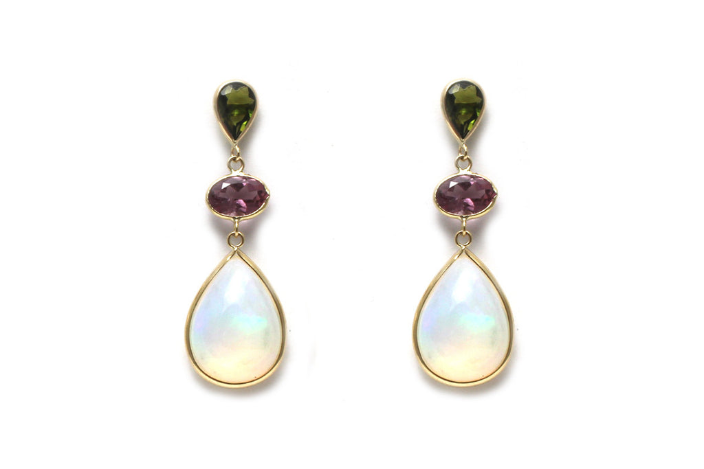 Opal, Green and Purple Tourmaline Earrings in 14KY