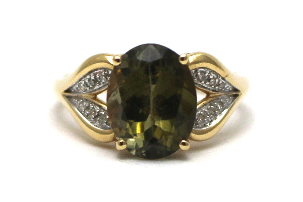 Diamond and Tourmaline Ring in 14KY