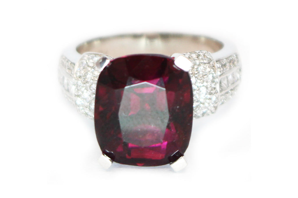 Tourmaline and Diamond Platinum Ring