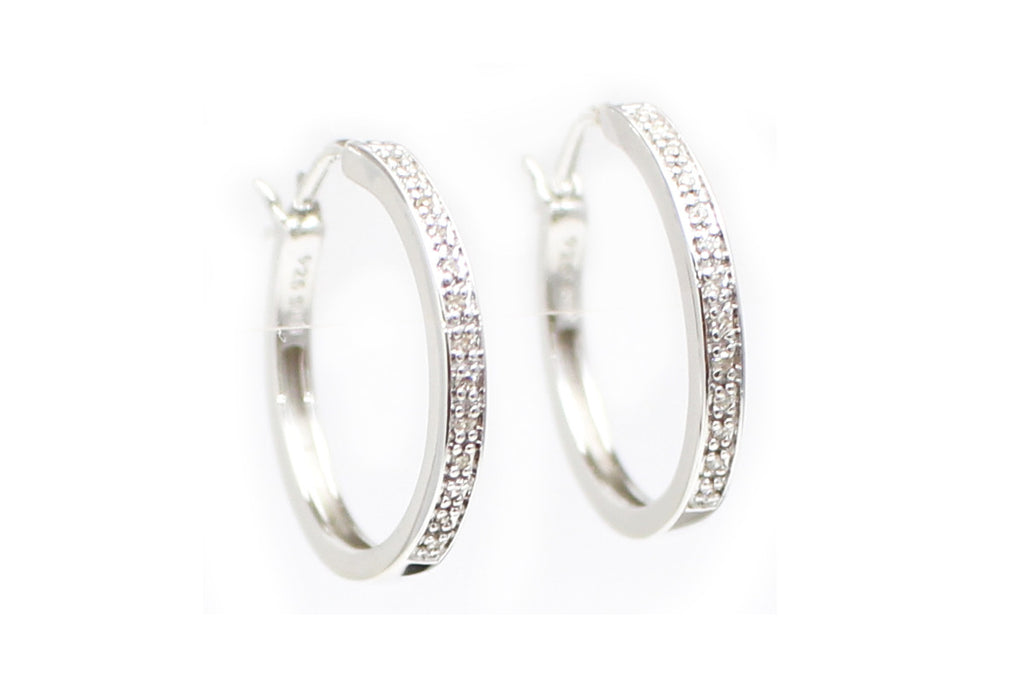 Diamond Hoop Earrings in Sterling Silver