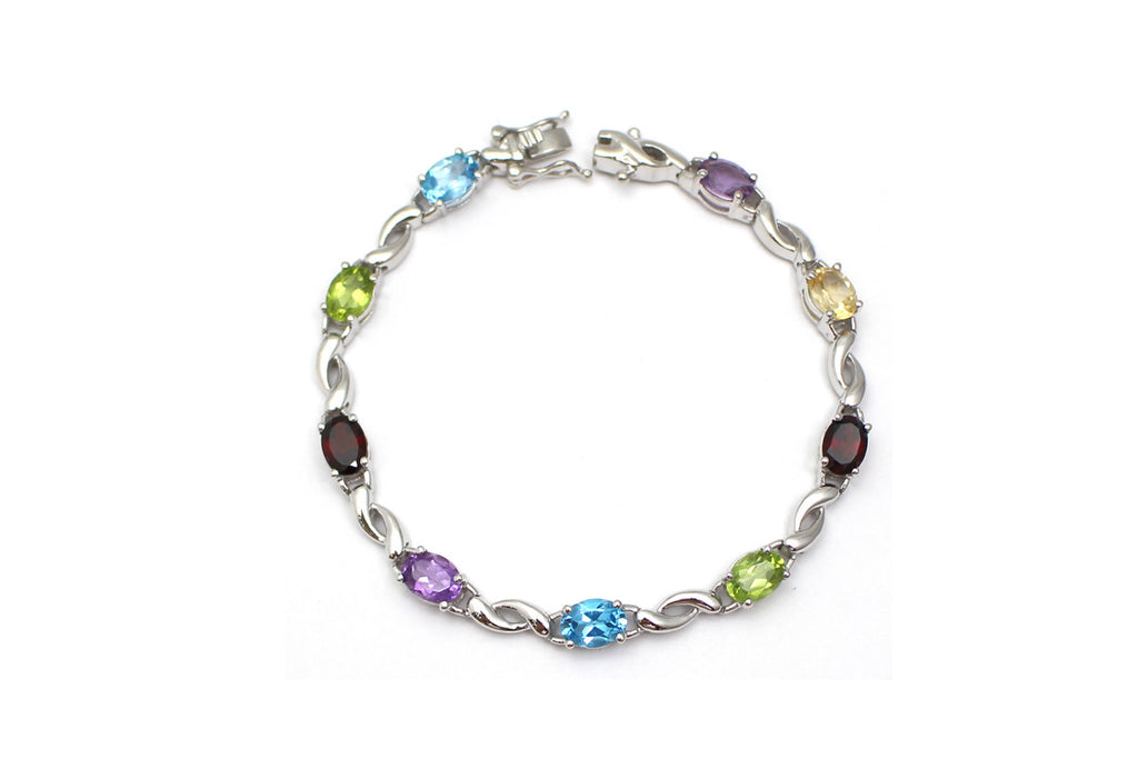 Multi-gemstone Bracelet in Sterling Silver
