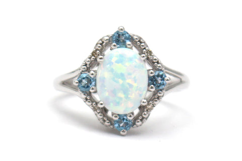 Blue Topaz, Opal and Diamond Ring in Sterling Silver