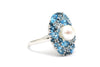 Blue Topaz and Pearl Ring in Sterling Silver