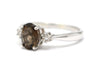 Smoky Topaz and Diamond Ring in Sterling Silver