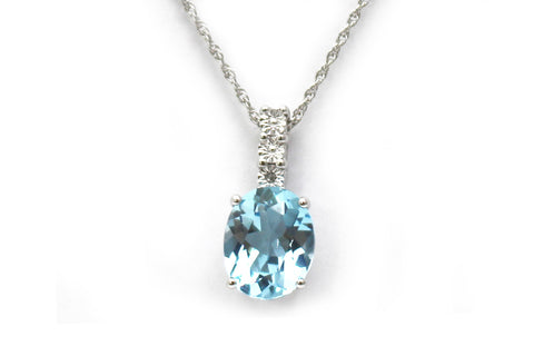 Blue Topaz Necklace in Sterling Silver