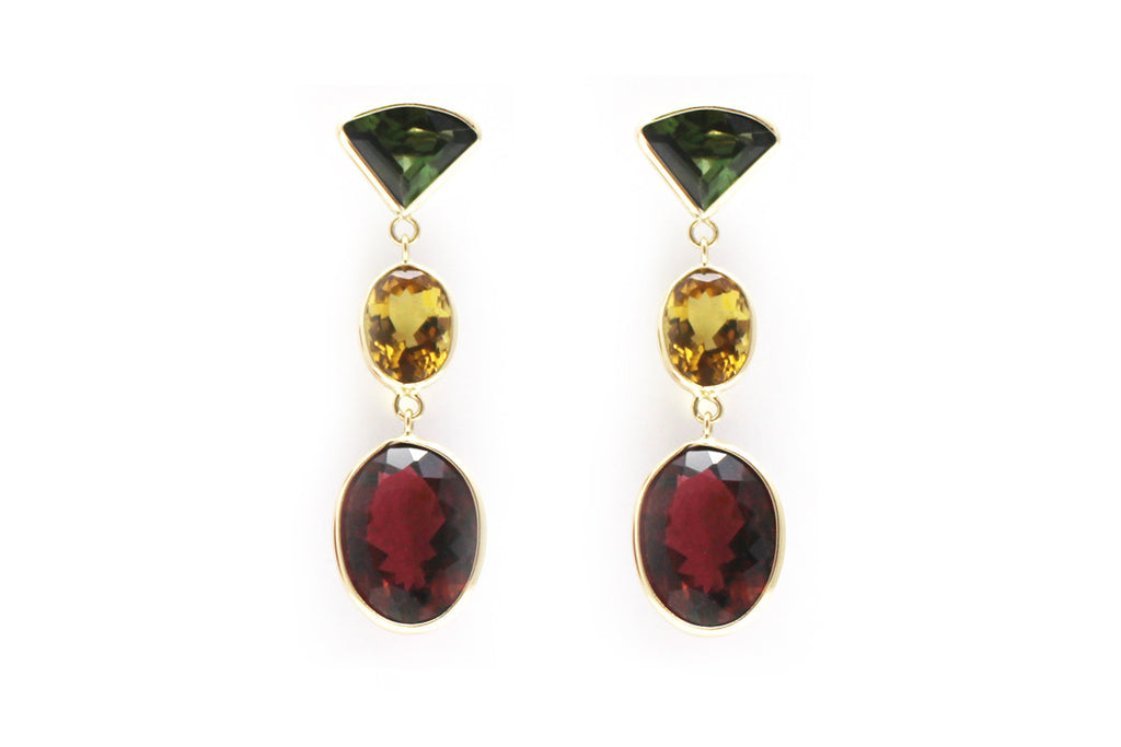Tourmaline Drop Earrings in 14k Yellow Gold
