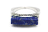 Diamond and Lapis RIng in 18k White Gold