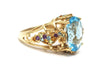 Multi-gemstone and Blue Topaz Ring in 14K Yellow Gold