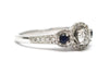 Diamond and Sapphire RIng in 14k White Gold