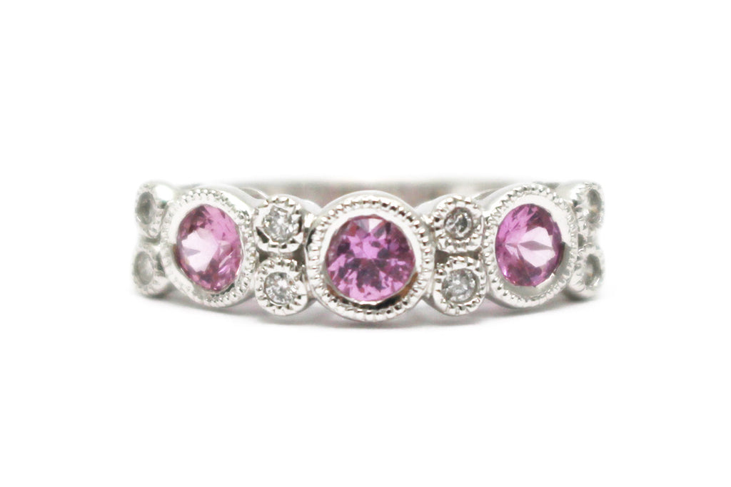 Pink Sapphire RIng in 14k White Gold