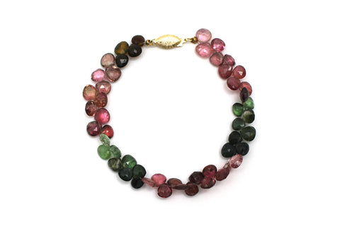 Natural Tourmaline Bracelet with 14K Yellow Gold Clasp