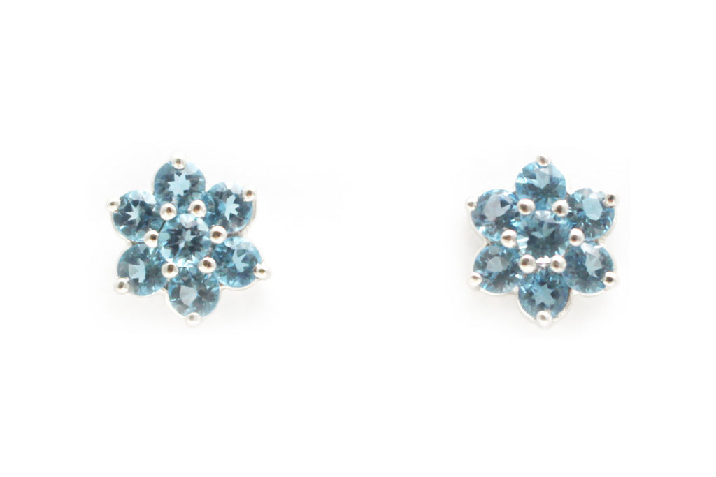 Blue Topaz Flower Earrings in 14k White Gold