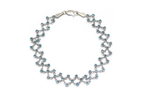 Blue Topaz Bracelet in 14k White Gold