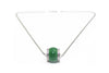 Diamond and Natural Jade Necklace in 18k White Gold