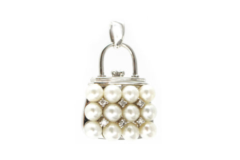 Diamond and Pearl Pendant in 14k White Gold