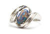 Diamond and Blue Opal Ring in 18k White Gold