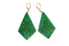 Diamond and Jade Earrings in 14k White Gold