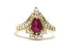 Diamond and Ruby Ring in 14k Yellow Gold