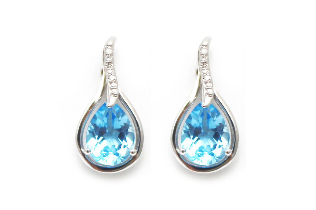 Diamond and Blue Topaz Earring in 14k White Gold