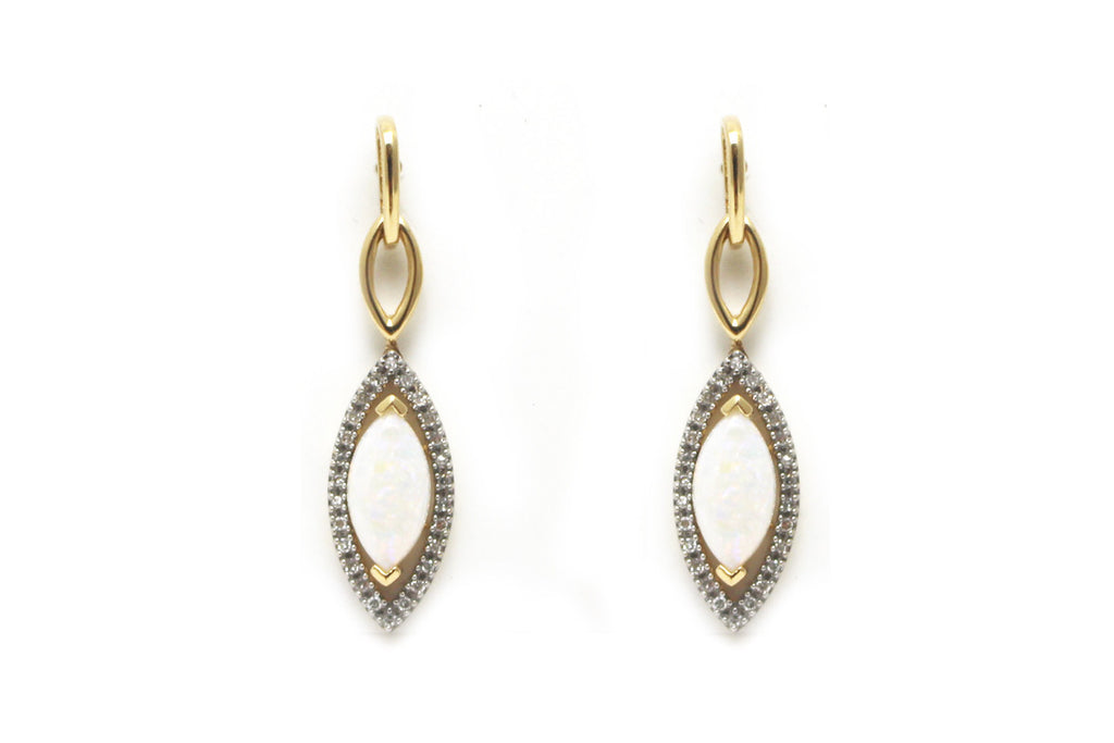 Diamond and Opal Drop Earring in 14k Yellow Gold