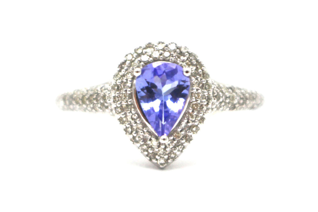 Diamond and Tanzanite Ring in 10k White Gold