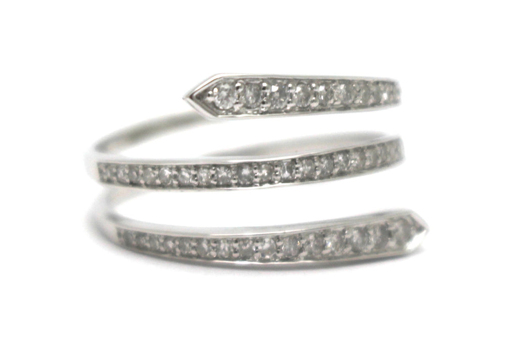 Spiral Diamond Ring in 14k White Gold