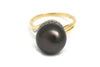 Tahitian Pearl and Diamond Ring in 14k Yellow Gold