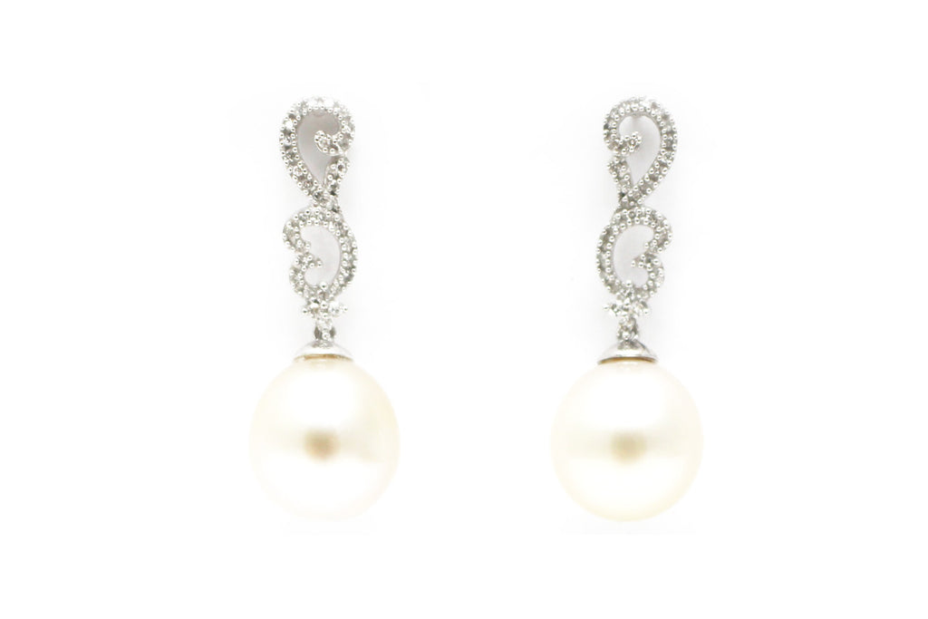 South Sea Pearl and Diamond Earrings in 14K White Gold