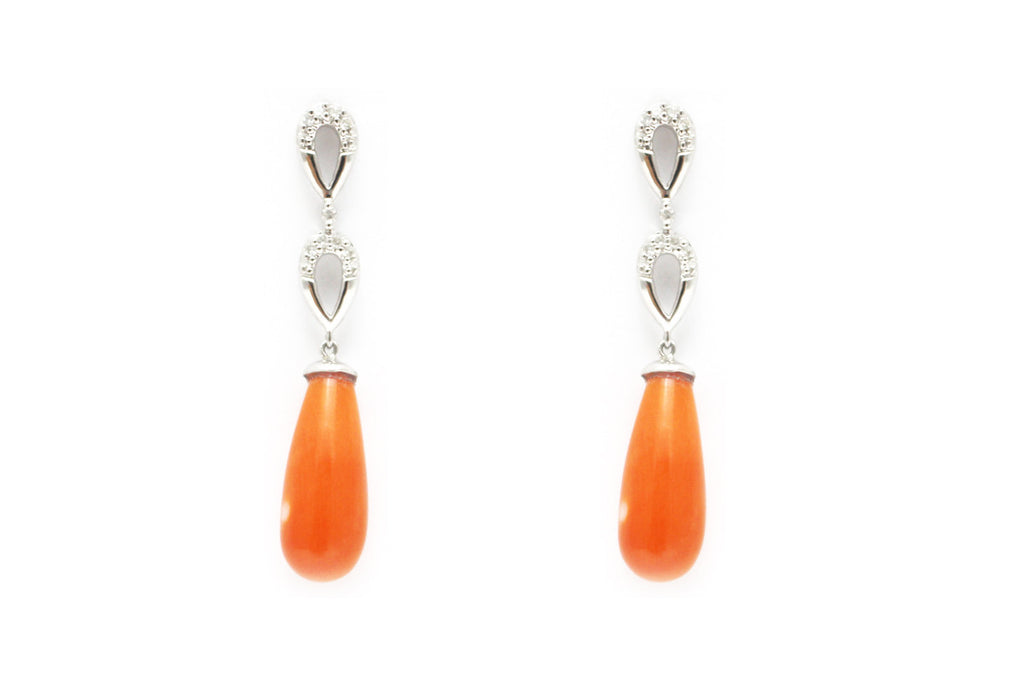 Diamond and Coral Earrings in 14K White Gold