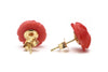 Coral Rose Earrings in 14k Yellow Gold