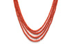 4 Strand Italian Coral Necklace with 14K Yellow Gold Clasp