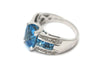 Blue Topaz and Diamond Ring in 14k White Gold