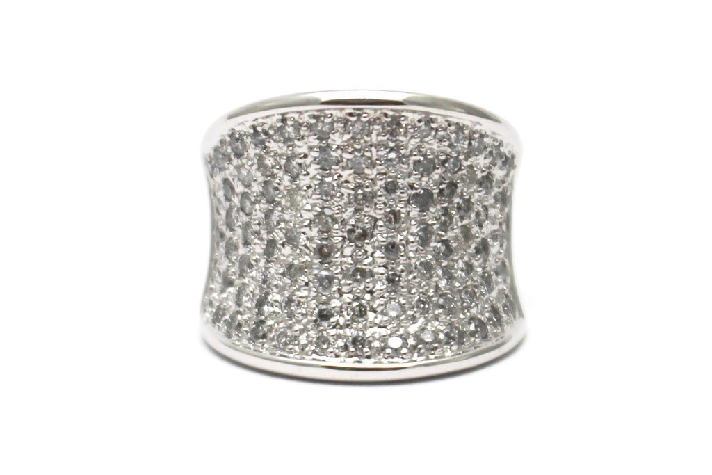 Wide Diamond Ring in 14k White Gold