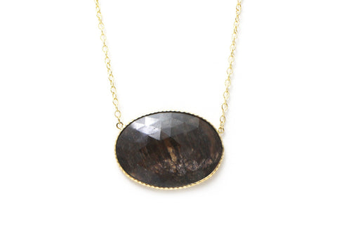 Brown Sapphire Necklace in 14K Yellow Gold