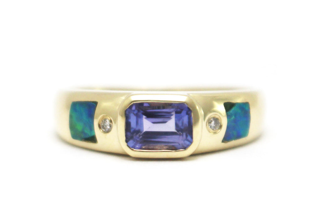 Diamond, Opal and Tanzanite Ring in 14k Yellow Gold