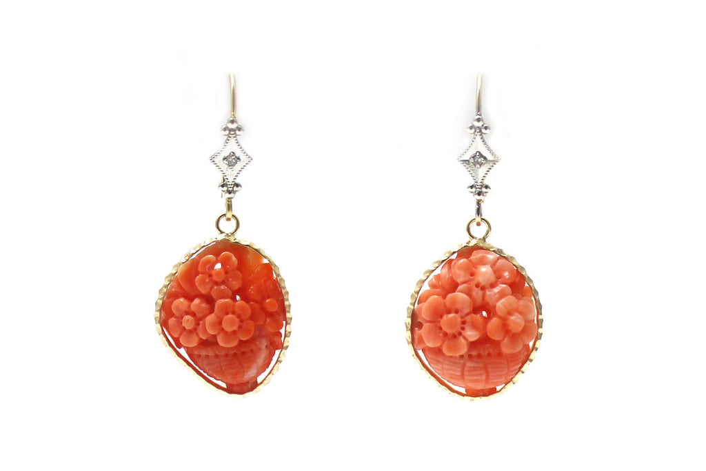 Coral Flower Basket Earring in 14K Yellow Gold with Diamond