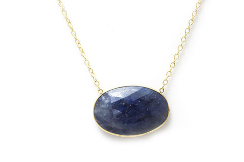Blue Sapphire Necklace in 14K Yellow Gold