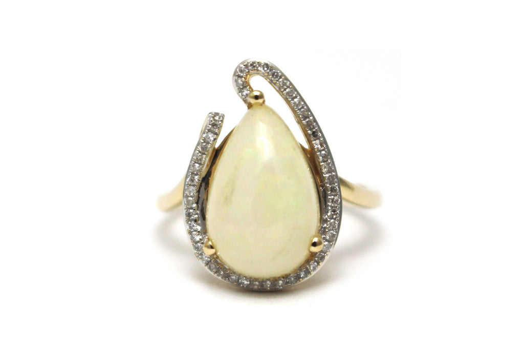 Teardrop Opal and Diamond Ring in 14k Yellow Gold