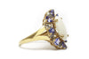 Opal, Diamond and Tanzanite Ring in 14k Yellow Gold