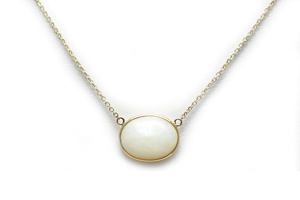 Oval Opal Necklace in 14K Yellow Gold