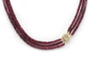 3 Strand Tourmaline Bead Necklace with Diamond and 14K Yellow Gold Clasp