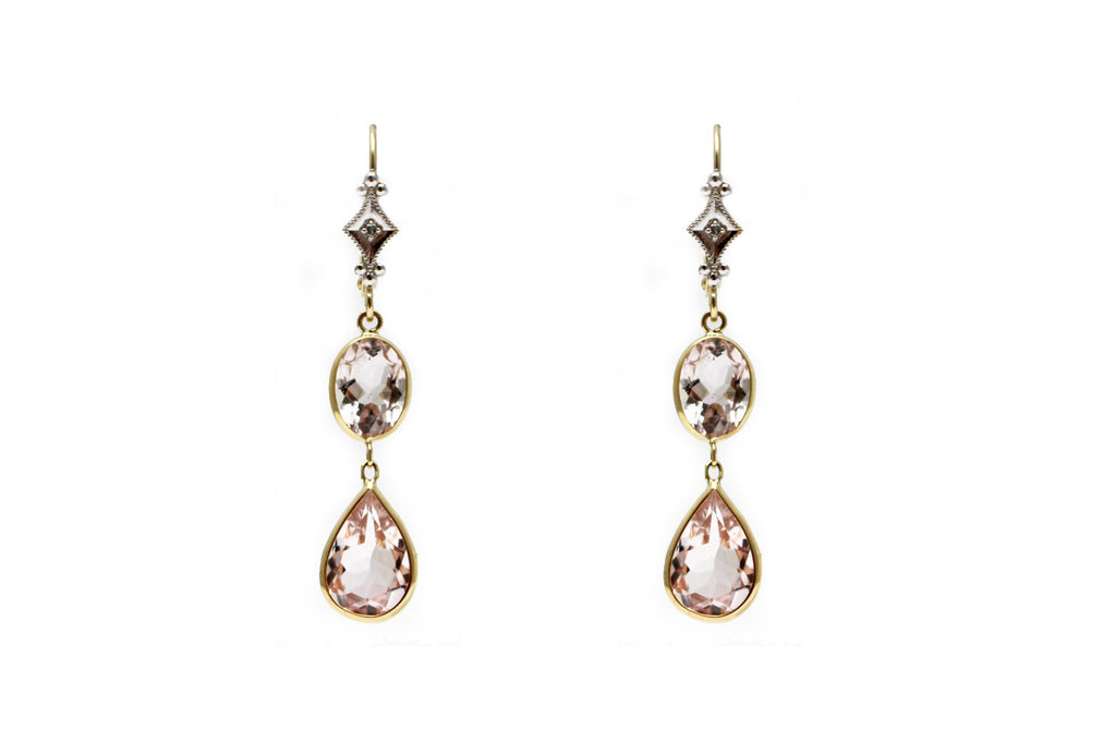 Diamond and Morganite Earring in 14k Yellow Gold