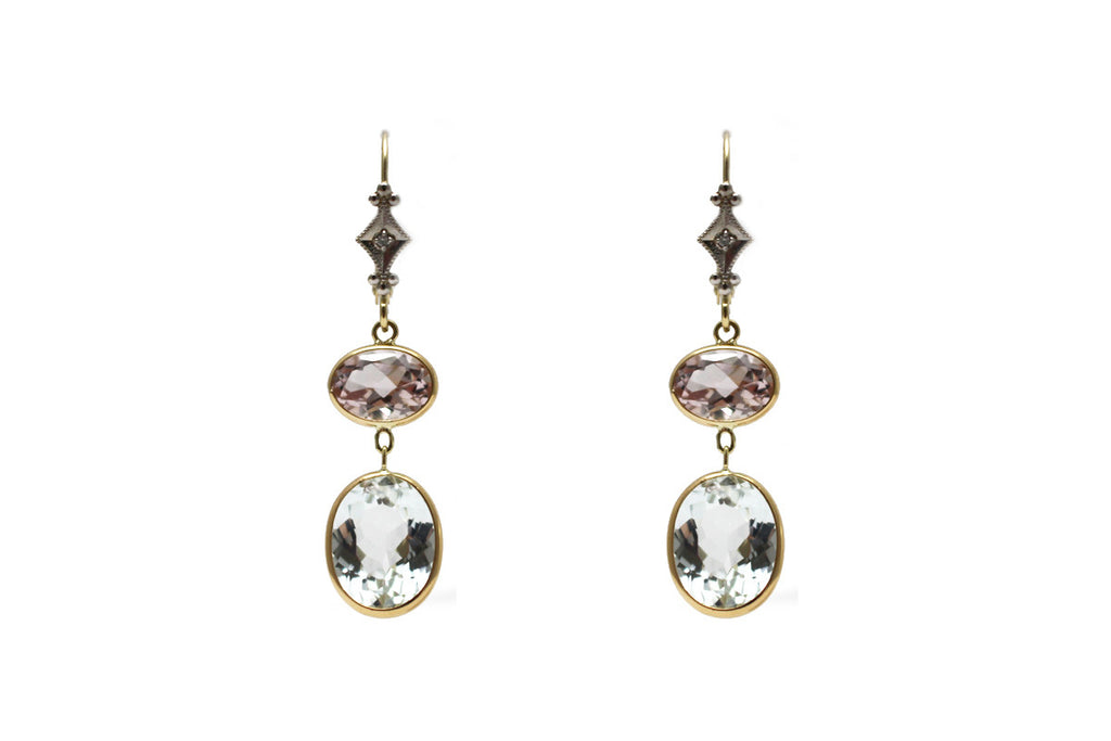 Aquamarine and Morganite Earring in 14k Yellow Gold