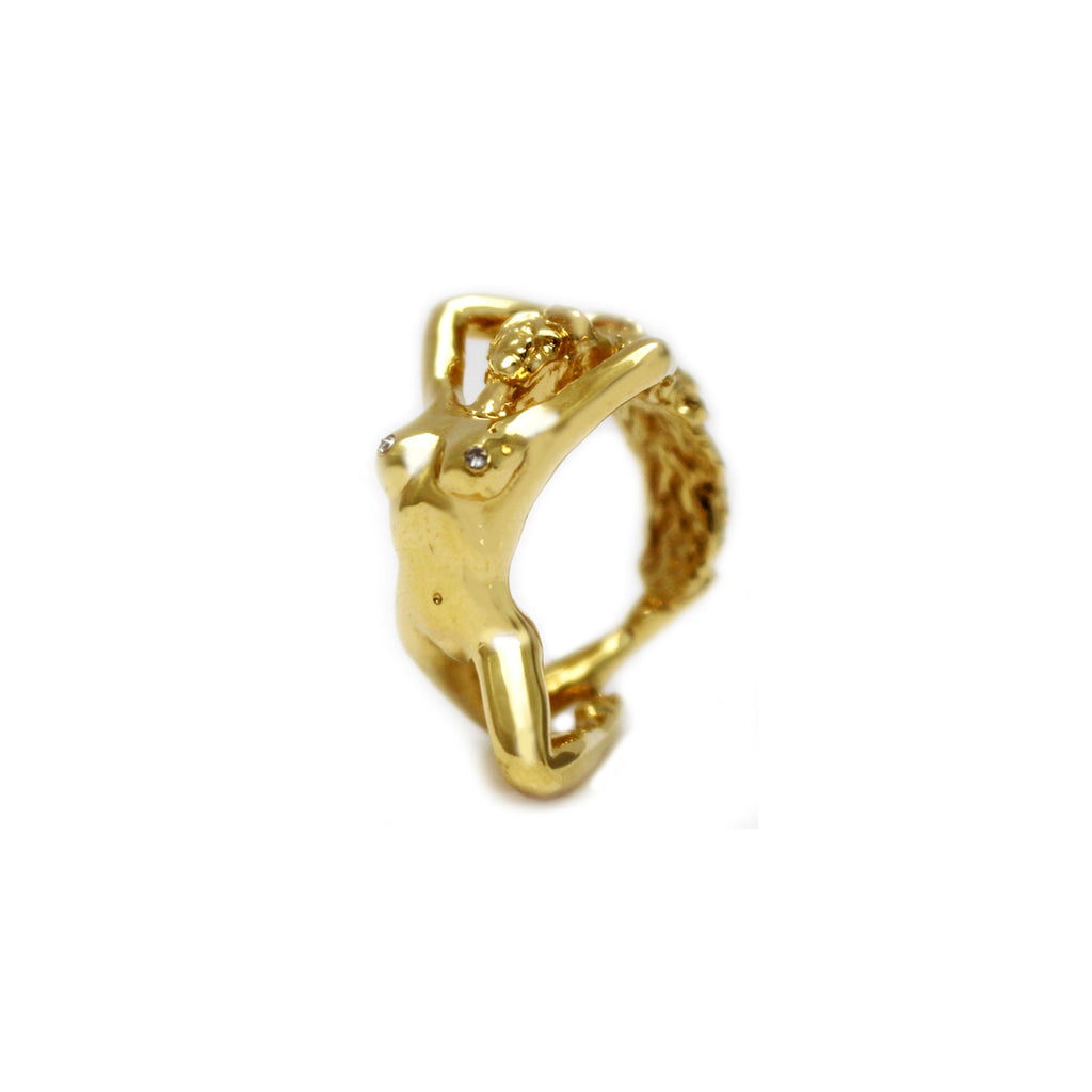 Athena 18K Yellow Gold Ring with Diamond