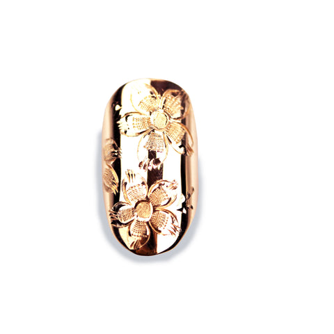 Anemone Round Rose Gold Nail
