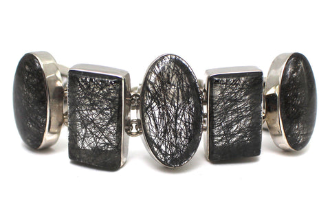 Black Rutilated Quartz Bracelet in Sterling Silver