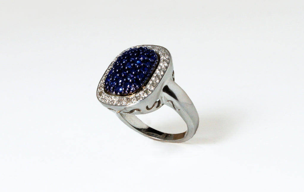 Diamond and Blue-Sapphire Sterling Silver Ring