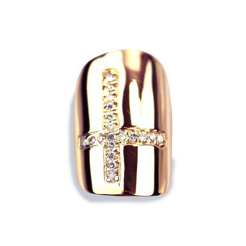 Chastity Square Diamond Rose Gold Nail