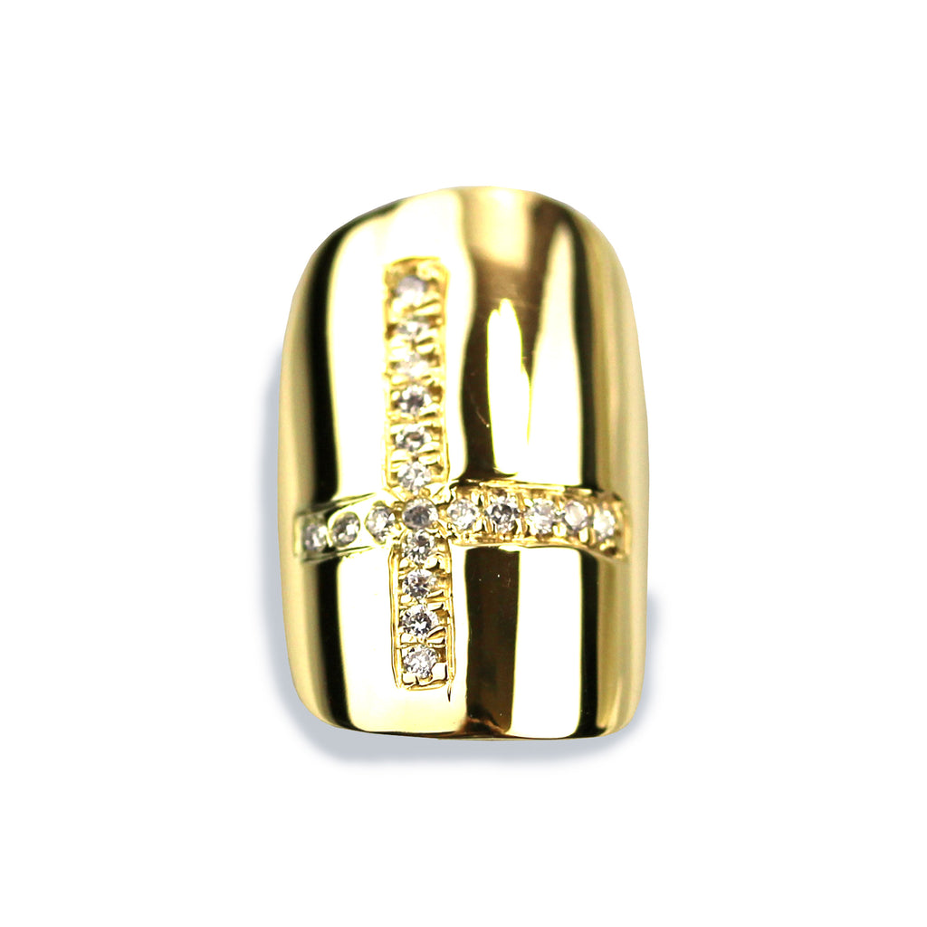 Chastity Square Diamond Yellow Gold Nail